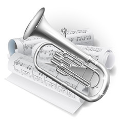 Baritone horn / Euphonium tuba on white background with notes