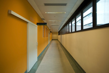 The long hospital empty corridor