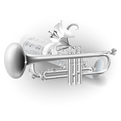 Classical trumpet on white background with notes