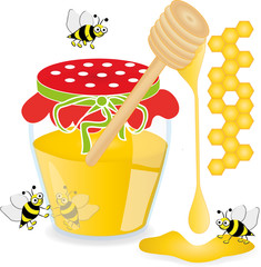 Honey jar with bees, vector illustration