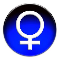 Venus sign in a glassy sphere button