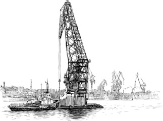 tugboat and crane