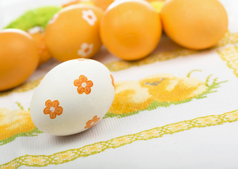 Easter eggs on the embroidered cloth