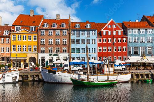 Poster Color buildings of Nyhavn in Copehnagen, Denmark