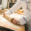 Cook rolling dough kitchen with rolling pin
