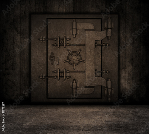 Grunge interior with bank vault