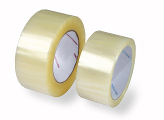 Packaging tapes, two rolls of transparent tape, isolated image o