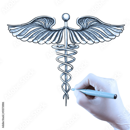 doctor hand draws Caduceus