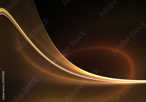 Awesome abstract gold wave on dark background