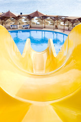 water park, top water slide, Closeup