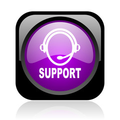 support black and violet square web glossy icon