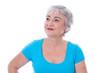 Gesicht einer glücklichen älteren Frau - isoliert, türkis