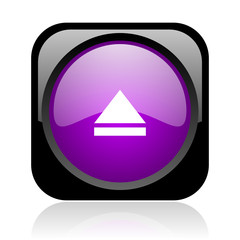 eject black and violet square web glossy icon