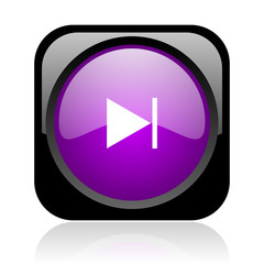 next black and violet square web glossy icon