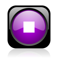 stop black and violet square web glossy icon