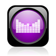 sound black and violet square web glossy icon