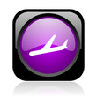airplane black and violet square web glossy icon