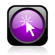 click here black and violet square web glossy icon