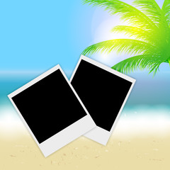 Beautiful summer background with instant photos, beach, sea, sun