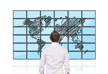men looking at map