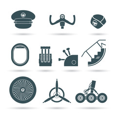 Set of airplane elements