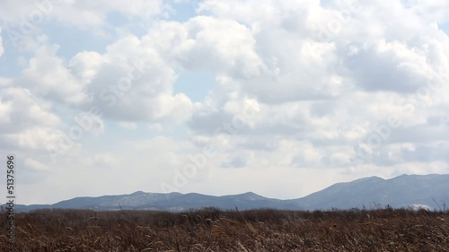 Mountain landscape, blue sky with clouds slow motion.