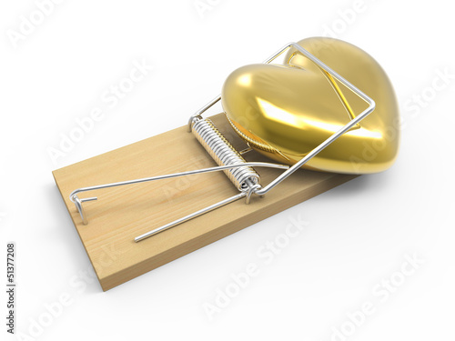 Golden heart caught in a mouse trap