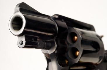38 Caliber Revolver Pistol Loaded Cylinder Gun Barrel Pointed