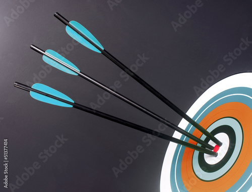 Three Blue Black Archery Arrows Hit Round Target Bullseye Center