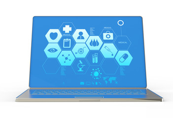 3d modern laptop computer and medical interface