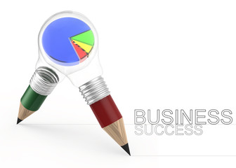 3d pencil light bulb drawing business success