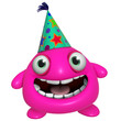 3d cartoon cute holiday pink monster