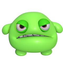 3d cartoon cute green monster