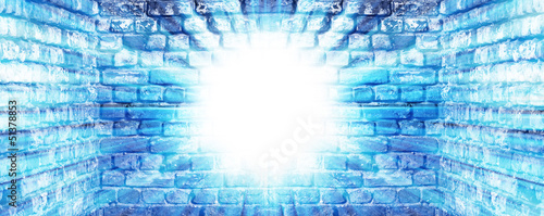Old brick wall background with light on it