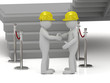 Two 3d man in yellow construction helmets shaking hands