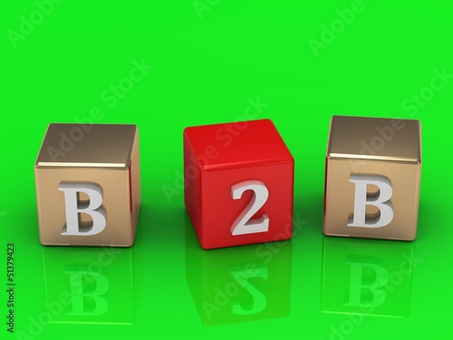 B2B inscription in gold and red cubes