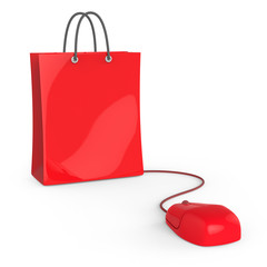 Red shopping bag with mouse
