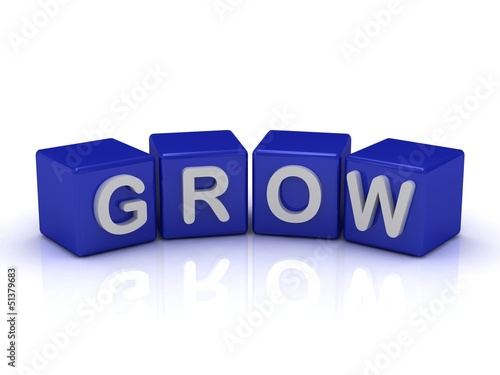 GROW word on blue cubes