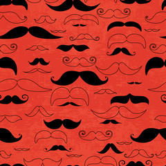 Mustache red seamless pattern