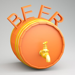 Barrel with beer
