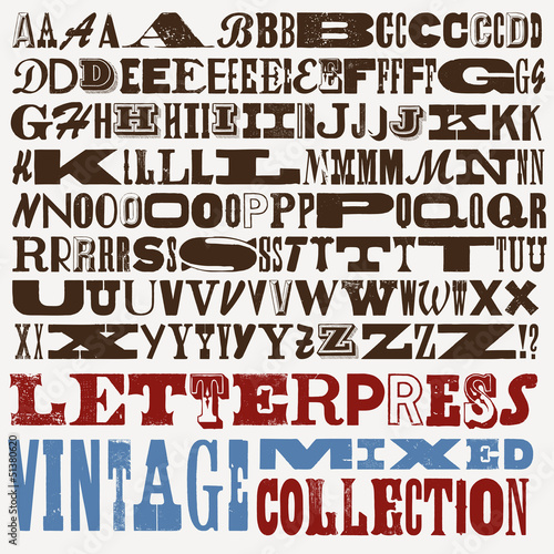 big mixed vintage letterpress collection