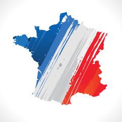carte de france et drapeau français