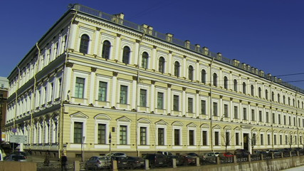 Facade of an old building in St. Petersburg.  River Moika