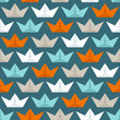 Seamless Pattern Paperboats & Waves Retro