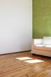 home interior,view.parquet and white sofa, detail