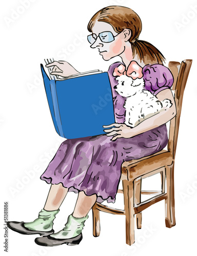Teen girl reading with her little Maltese dog