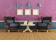 Purple and blue vintage living room