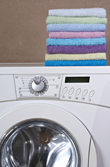 colorful towels on washing machine