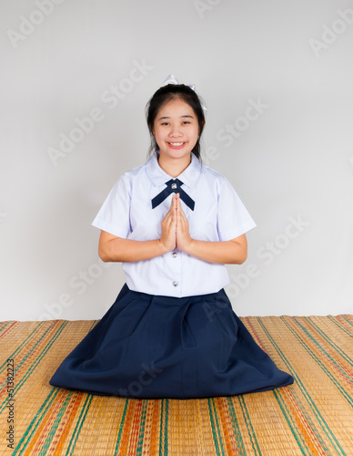 Paying Obeisance of High School Asian Thai Student