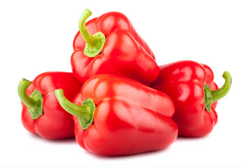 Heap of red sweet peppers